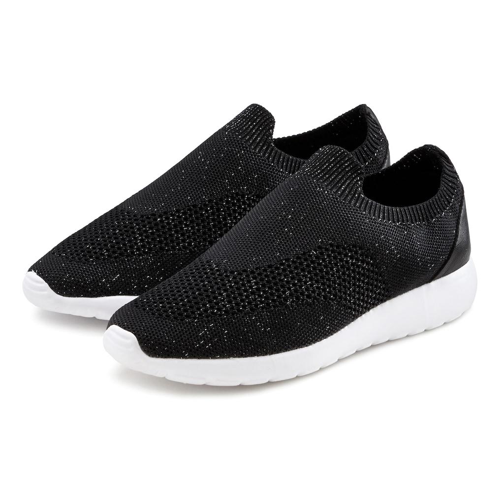 LASCANA Sneaker, Slip-In aus bequemem Mesh mit leichter Glanz-Optik