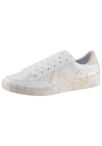 TOMMY HILFIGER Sneaker »TH SIGNATURE LEATHER SNEAKER«, mit farbiem Schriftzug kaufen