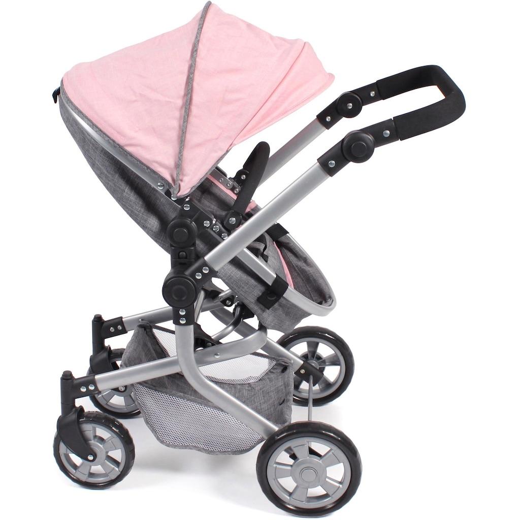 CHIC2000 Kombi-Puppenwagen »Mika, grau-rosa«, mit schwenkbaren Vorderrädern