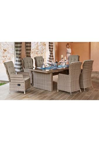 MERXX Gartenmöbelset »Riviera«, 13 - tlg., 6 Hochlehner, Tisch200x100 cm, Polyrattan kaufen
