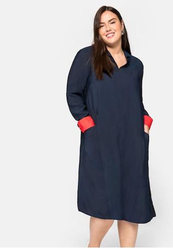 Sheego Jerseykleid, mit Hemdkragen und Kontrastdetails kaufen