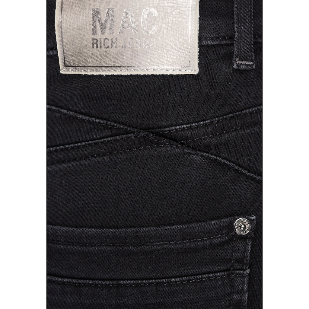 MAC Slim-fit-Jeans »Rich-Slim Galloon«, Den Po betonende Nähte und Glitzer-Galon an den Seitennähten