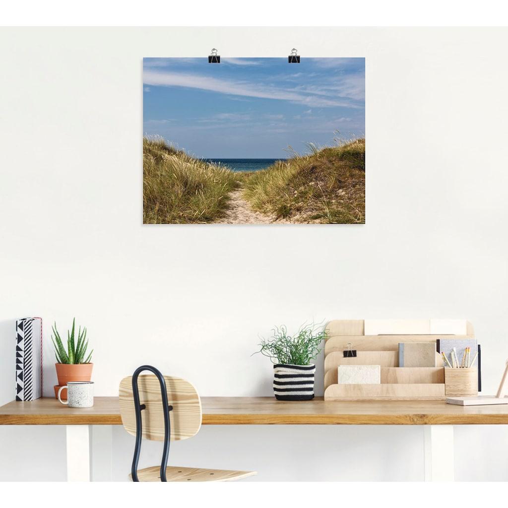 Artland Wandbild »Strandzugang an der Ostsee - Dänemark«, Strand, (1 St.), in vielen Größen & Produktarten - Alubild / Outdoorbild für den Außenbereich, Leinwandbild, Poster, Wandaufkleber / Wandtattoo auch für Badezimmer geeignet