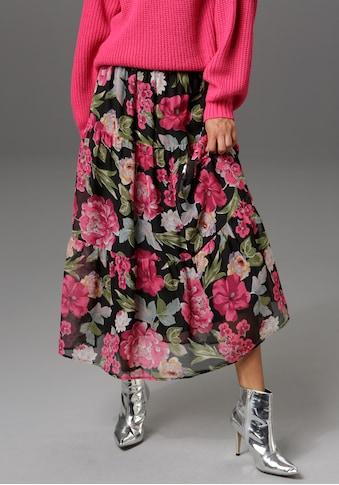 Aniston CASUAL Maxirock, mit Volant und großflächigem Blumendruck - NEUE KOLLEKTION kaufen