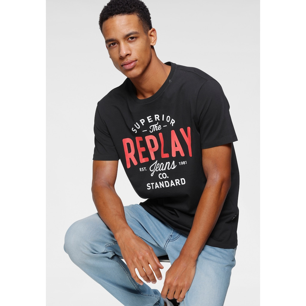 Replay T-Shirt, mit Markendruck