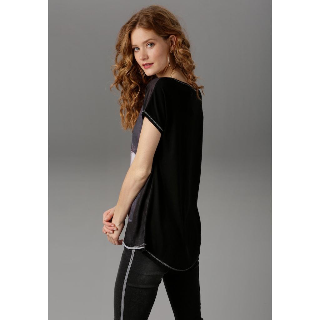 Aniston CASUAL T-Shirt, mit Glitzersteinchen verzierter Frontdruck
