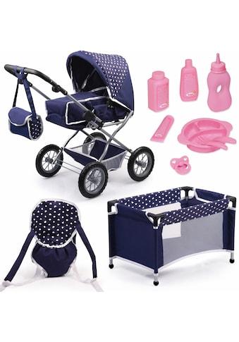 Bayer Kombi-Puppenwagen »Grande, Blau/Weiß«, mit Puppenbett und Puppenzubehör kaufen