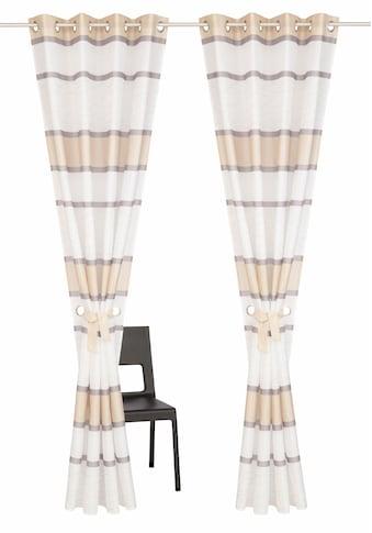 my home Vorhang »Maria«, Fertiggardine, Gardine, Inkl. 2 Raffbänder, halbtransparent kaufen