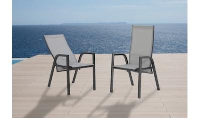 MERXX Gartenstuhl »San Remo«, Alu/Textil, verstellbar, silber kaufen