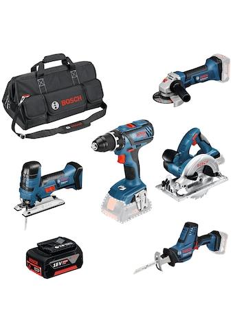 Bosch Professional Elektrowerkzeug-Set »GSR, GWS & GBH«, (9 tlg.), inkl. 3 Akkus,... kaufen