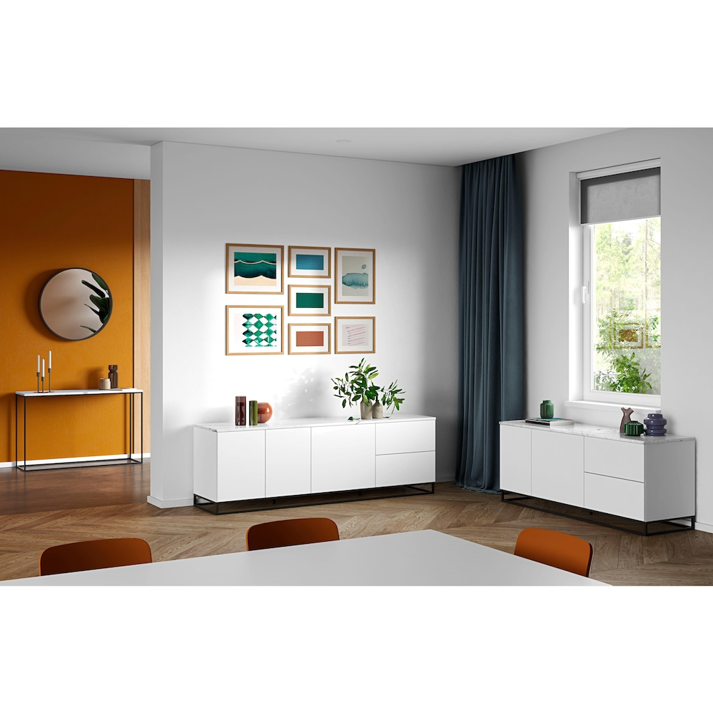TemaHome Konsolentisch »Gleam«, mit schöner Marmor Tischplatte und edlem schwarzen Metallgestell