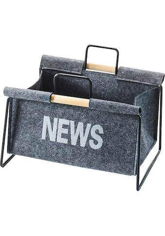 locker Zeitungsständer »Zeitungsständer aus Metall, schwarz und Filz dunkelgrau« kaufen