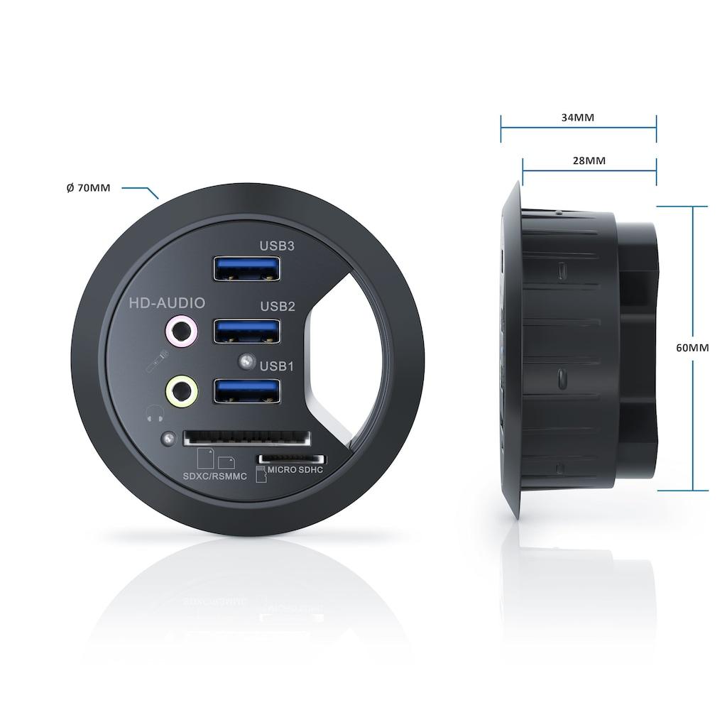 CSL Tisch USB Hub mit Kartenleser & Aux Anschluss