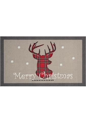 HANSE Home Fußmatte »Christmas Reindeer«, rechteckig, 7 mm Höhe, Schmutzfangmatte, In-... kaufen