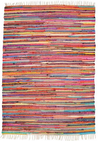 Andiamo Teppich »Multi«, rechteckig, 10 mm Höhe, Flachgewebe, Flickenteppich, reine Baumwolle, handgewebt, mit Fransen, Wohnzimmer kaufen