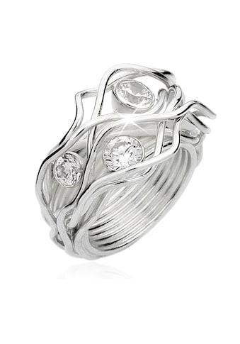Nenalina Fingerring »Zirkonia Kristalle Gedreht Geschwungen 925 Silber« kaufen