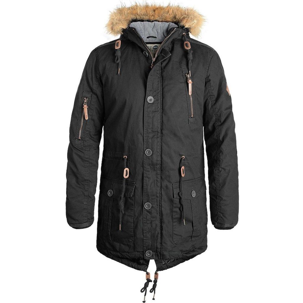 Solid Parka »Clark Parka«, warme Jacke mit abnehmbarem Kunstfellkragen