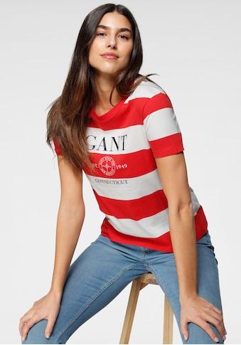 Gant Rundhalsshirt, mit tollem Blockstreifem und Logoprint kaufen