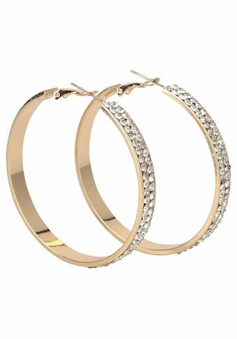 J.Jayz Paar Creolen »breitere Form im glamourösen Design, gelbgoldfarben«, mit Glassteinen kaufen
