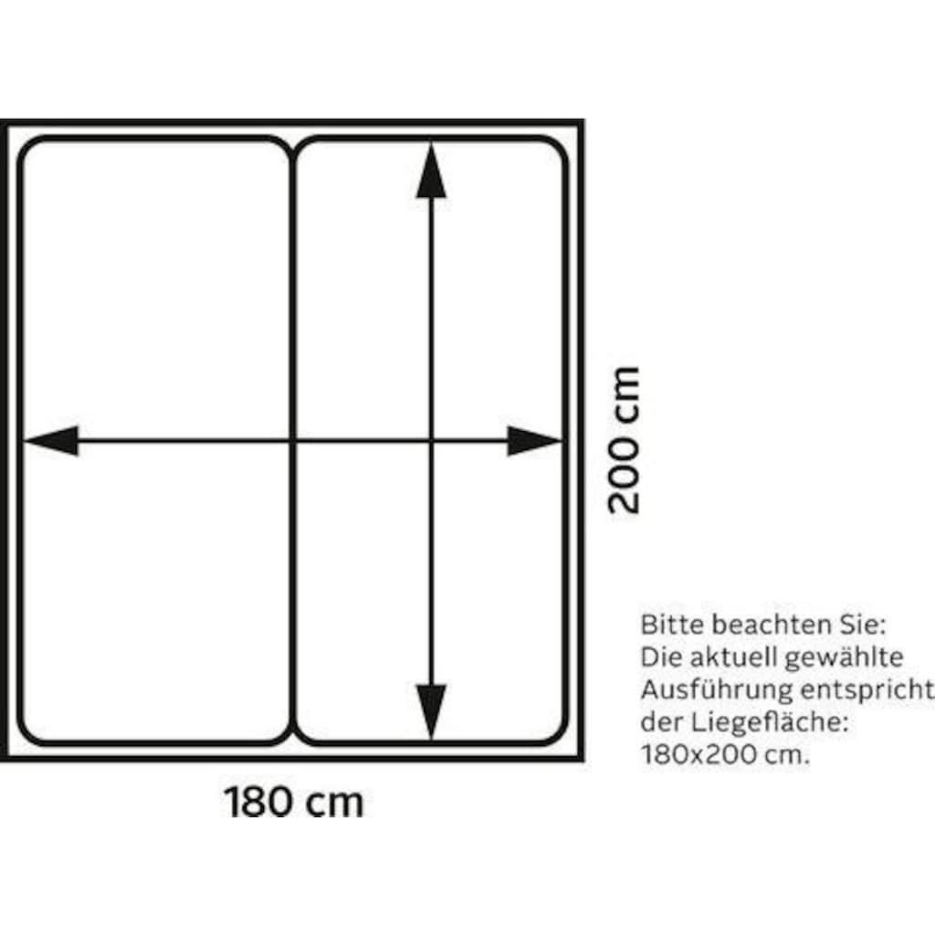 andas Boxspringbett »Oregon«, incl. Topper, in Samtoptik oder Struktur, 4, Breiten, 2 Härtegrade, 3 Ausführungen