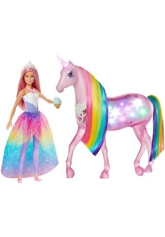 Barbie Anziehpuppe »Dreamtopia Magisches Zauberlicht Einhorn mit Puppe« kaufen