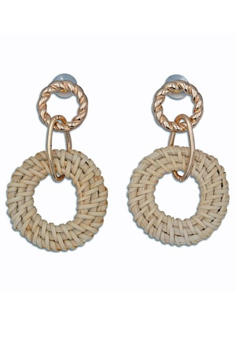J.Jayz Paar Ohrstecker »runde Ohrstecker mit kreisförmigen Einhängern, Bast« kaufen