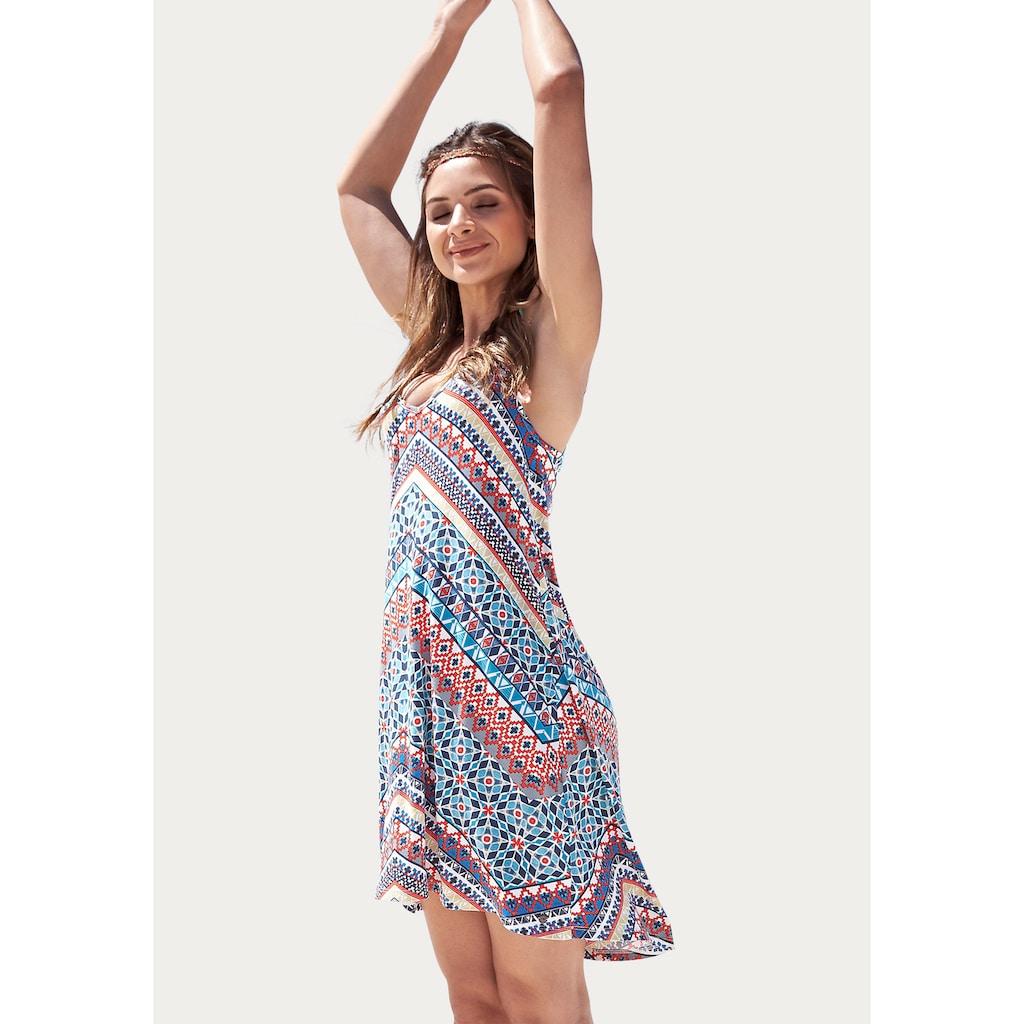 KangaROOS Sommerkleid, im Festival Look, ausgestellter A-Form, mit Zierbändern hinten