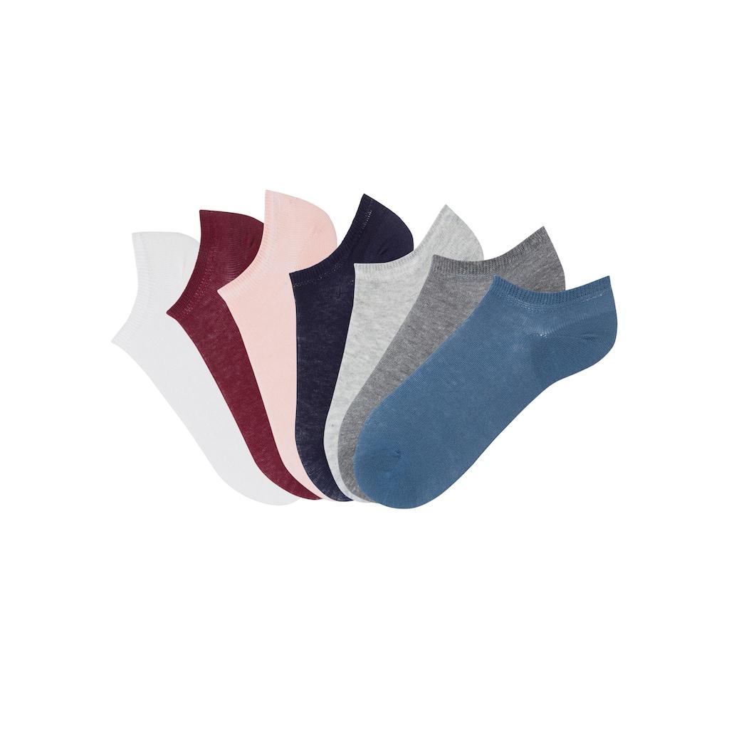 Arizona Sneakersocken, (7 Paar), mit schmalem Rippbündchen