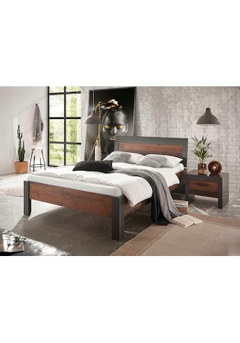 Home affaire Bettanlage »BROOKLYN«, (Set, Einzelbett mit Holzkopfteil, Nachtkommode) kaufen