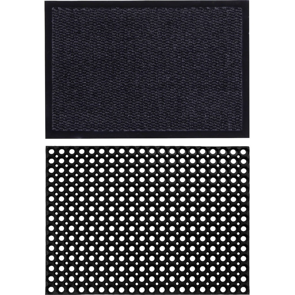 Andiamo Fußmatte »Easy + Gummi Ringmatte, 2er Set«, rechteckig, 5 mm Höhe, Schmutzfangmatte, In- und Outdoor geeignet