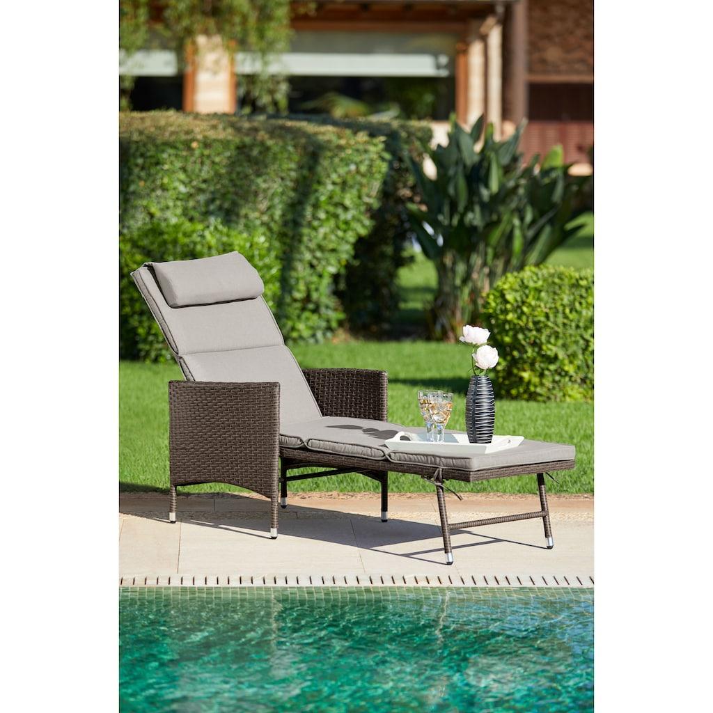 KONIFERA Gartenliege »Mailand«, Polyrattan, verstellbar, inkl. Auflage