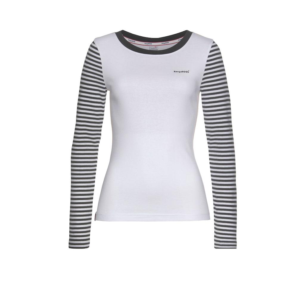 KangaROOS Langarmshirt, im modischem Uni-Streifen-Mix