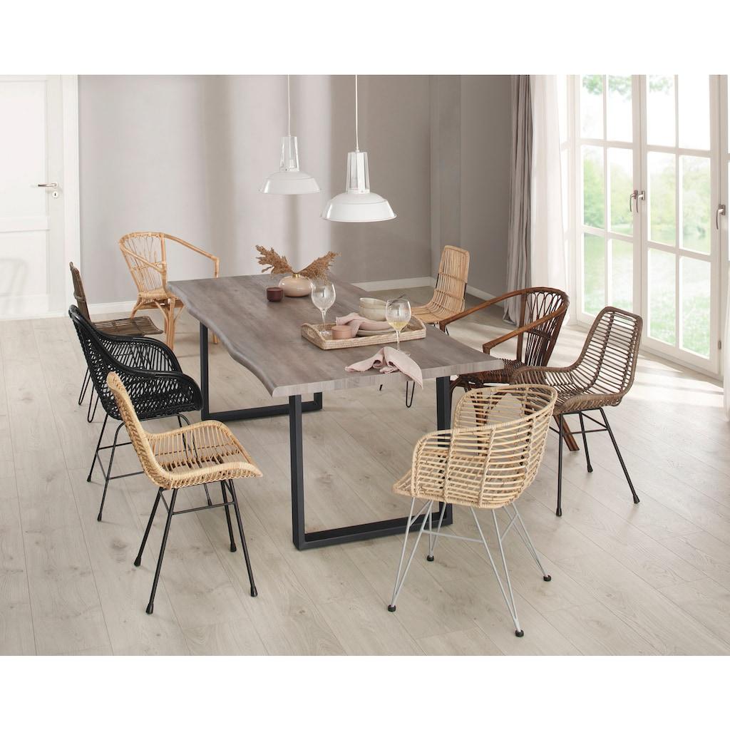 Home affaire Esszimmersessel »Wodan«, 2er Set, aus einem schönen Rattangeflecht, mit einem edlen Metallgestell