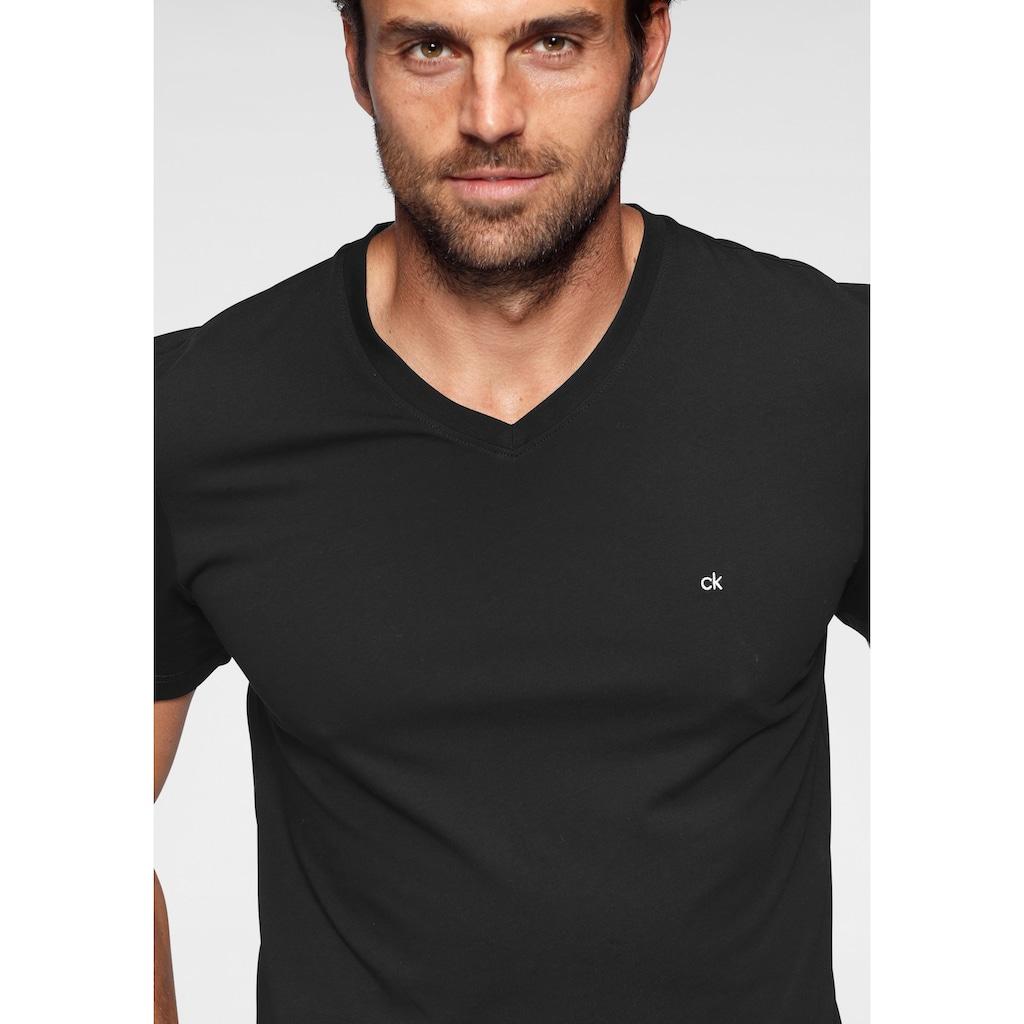 Calvin Klein T-Shirt »LOGO EMBROIDERY V-NECK T-SHIRT«