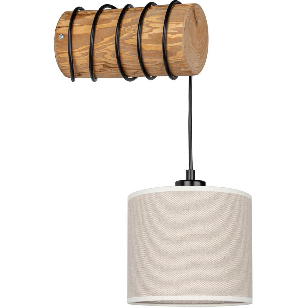OTTO products Wandleuchte »Emmo«, E27, Wandlampe mit hochwertigem Textilschirm Ø 17,5 cm aus Leinen & Baumwolle, massives Kiefernholz, Naturprodukt, Nachhaltig mit FSC®-Zertifikat, Made in Europe