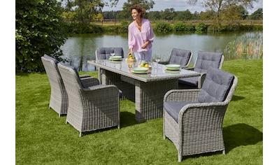 KONIFERA Gartenmöbelset »Menorca«, (19 tlg.), 6 Sessel, Tisch 2x1 cm, Polyrattan kaufen