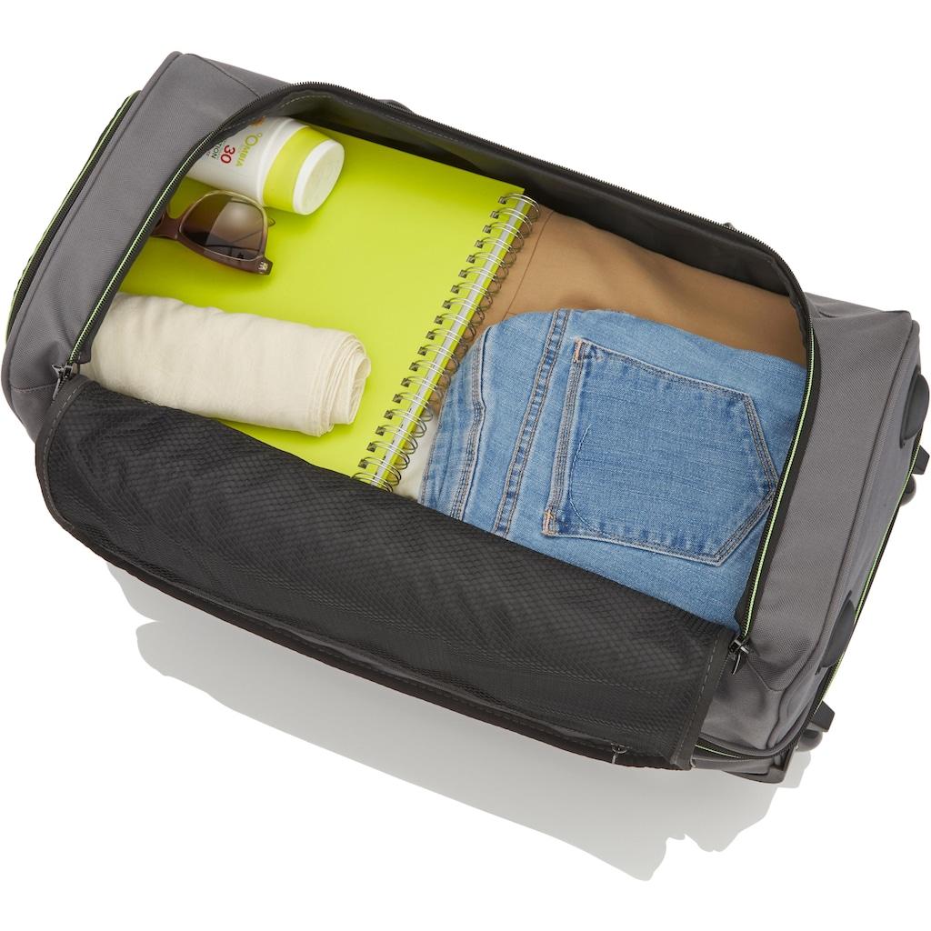 travelite Reisetasche »Basics, 70 cm, grau/grün«, mit Volumenerweiterung