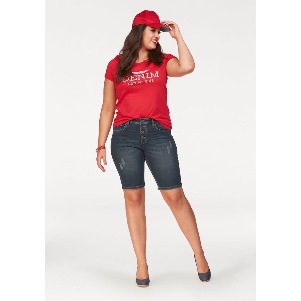 "Arizona Print-Shirt, mit großem ""Denim"" Statement Druck"