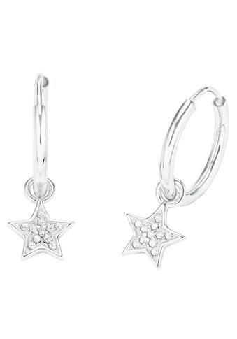 Amor Paar Creolen »Sterne, 2026264«, mit Zirkonia und abnehmbaren Einhängern kaufen