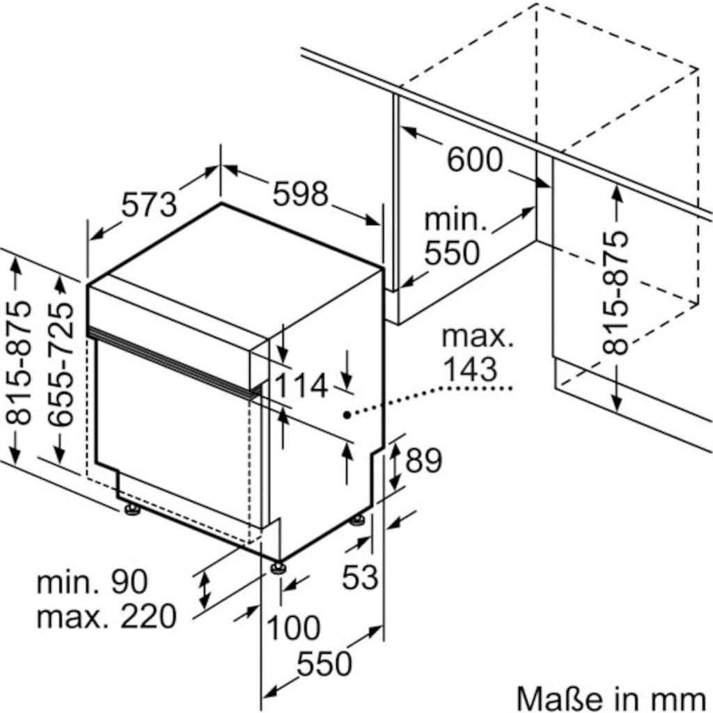 SIEMENS teilintegrierbarer Geschirrspüler »SN53HS32UE«, iQ300, SN53HS32UE, 12 Maßgedecke