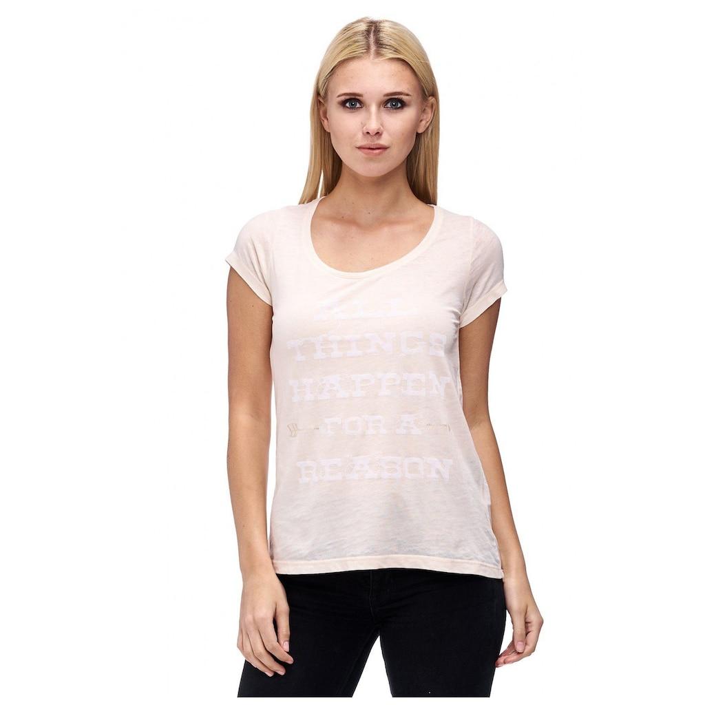 Decay T-Shirt, mit Ärmelaufschlag und Paillettenschriftzug