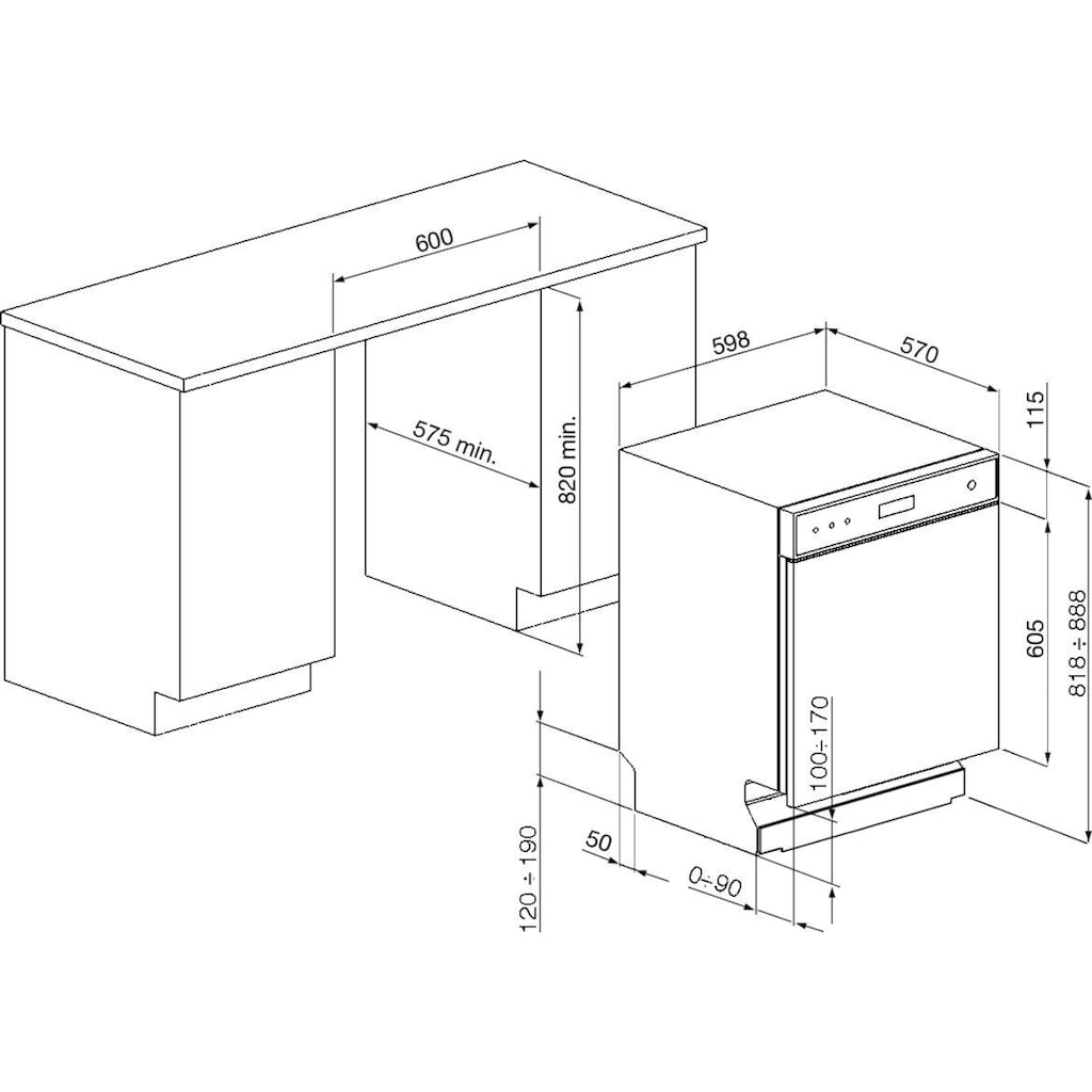 Smeg Unterbaugeschirrspüler »LSP4323XDE«, LSP4323XDE, 8,5 l, 13 Maßgedecke