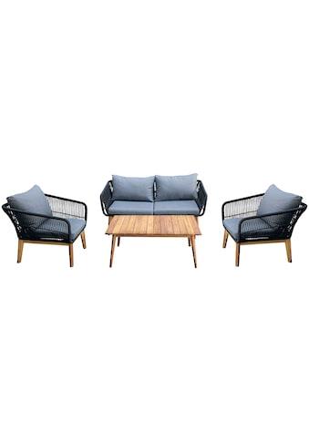 Homexperts Loungeset »Comfy«, (12 St.), mit modernem Seilgeflecht, Massivholz und... kaufen