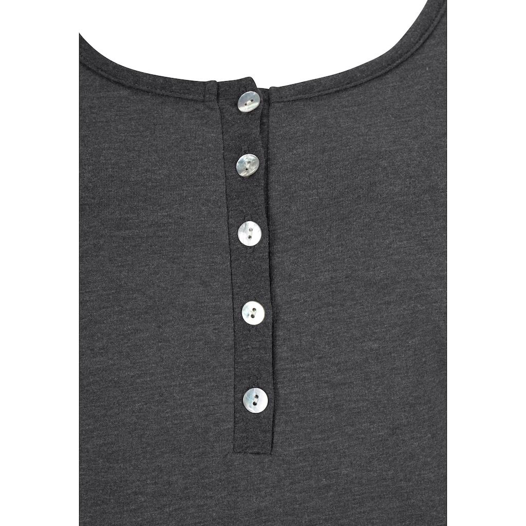 Arizona Pyjama, in melierter Qualität mit Knopfleiste