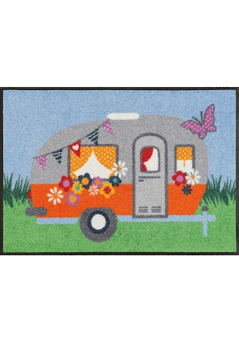 wash+dry by Kleen-Tex Fußmatte »Happy Camping«, rechteckig, 7 mm Höhe, Schmutzfangmatte kaufen