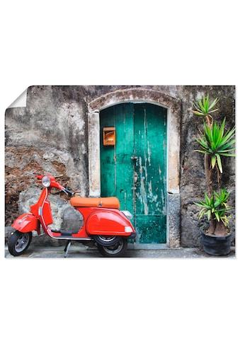 Artland Wandbild »Roter Motorroller«, Motorräder & Roller, (1 St.), in vielen Größen &... kaufen
