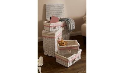 Home affaire Wäschekorb »Home«, weiß/pink kaufen