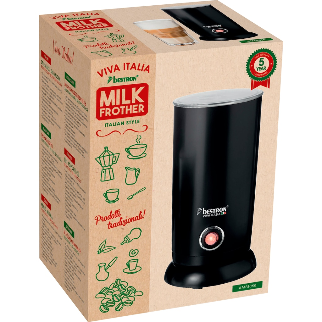 bestron Milchaufschäumer »Viva Italia«, 550 W, Kabellos, 300 ml, Farbe: Schwarz
