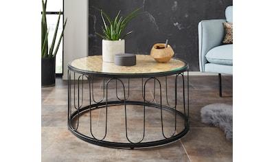 Home affaire Couchtisch »Sudbury«, aus geflochtener Wasserhyazinthe, mit einer Glastischplatte, mit einem schwarzen Metallgestell, Durchmesser 80 cm kaufen