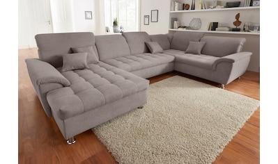 DOMO collection Wohnlandschaft, im XXL-Format, wahlweise mit Bettfunktion, Bettkasten und Kopfteilverstellung, frei im Raum stellbar kaufen